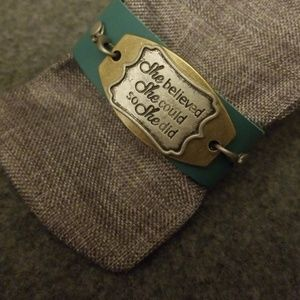 Jewelry - 8.5 inch Leather Cuff with Quote adajusable